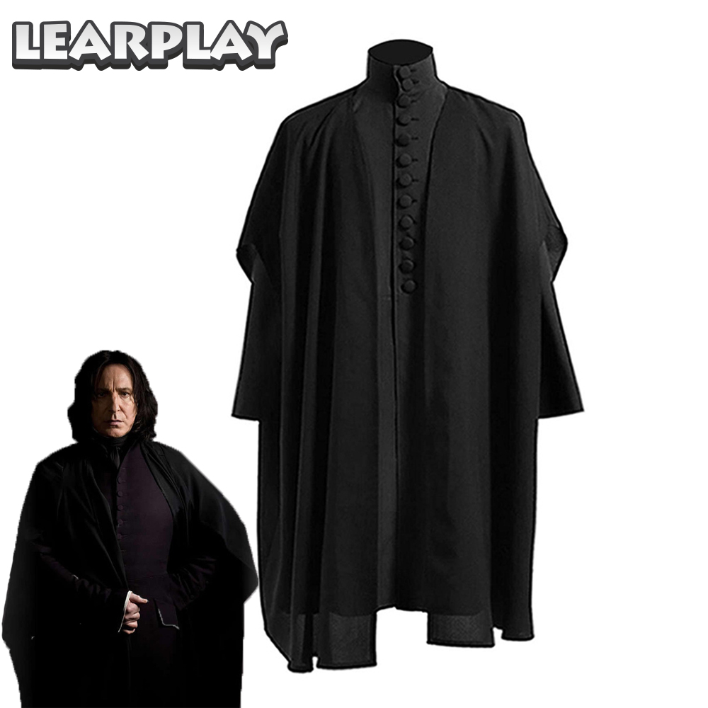 Professor Severus Snape Cosplay Costume Deathly Hallows Hogwarts School Cloak Shirts Adults Black Robe Party Playing Uniforms