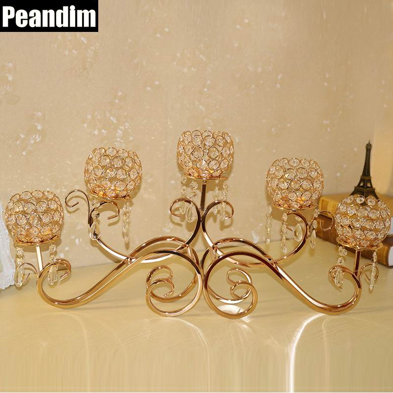 PEANDIM Vintage Christmas Candlestick Home Decor Wedding Table Centerpieces Party Celebrations K9 Crystal Hanging Candle Holders