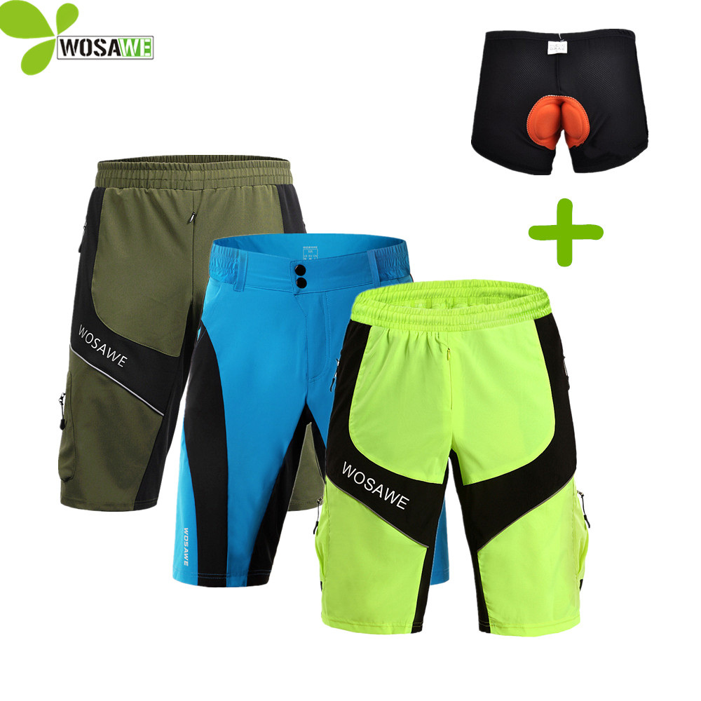 WOSAWE MTB Road Bike Men Shorts Ciclismo Ropa interior Tight Loose Mountain Ocio Baggy 3D Pad Resistencia al agua Shorts cuesta abajo