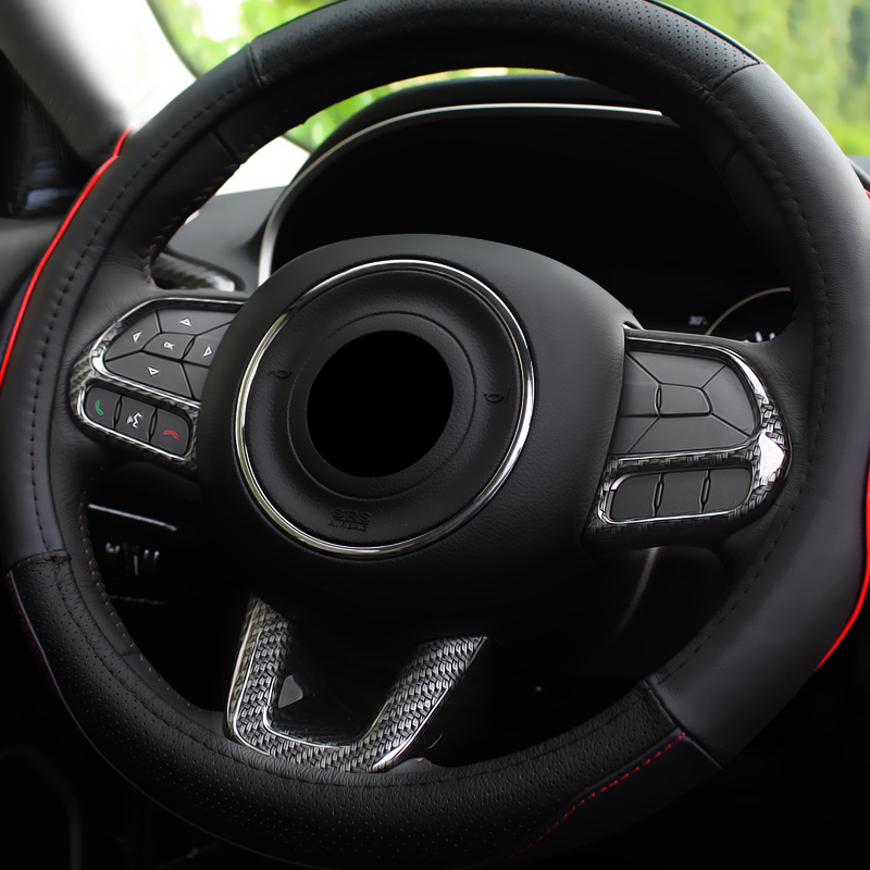 ABS Carbon Fibre For Jeep Renegade 2015 2016 2017-2019 Auto Accessories Car Steering Wheel Button Frame Cover Trim Car Styling