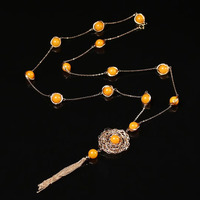 hot sale new design fashion handmade jewelry SGARIT brand 14k gold wrap natural yellow amber gemstone diy bead necklace women