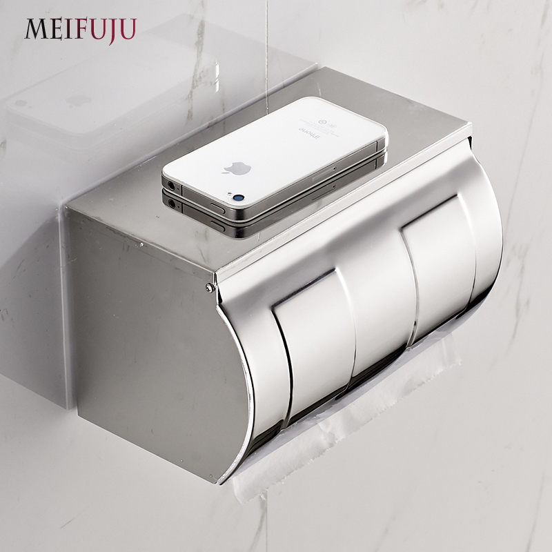 304 Stainless Steel Toilet Paper Holder with Shelf Box Tissue Toilet Paper Holders Dispenser Tissue Paper Wall mount roll holder panda style cute tissue roll box small gadget trash black