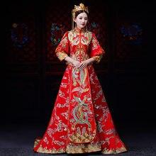 691a8145f90c Cinese Tradizionale Abito Da Sposa Delle Donne Dragon Phoenix Ricamo  Cheongsam famiglia Reale Qipao Abito Da