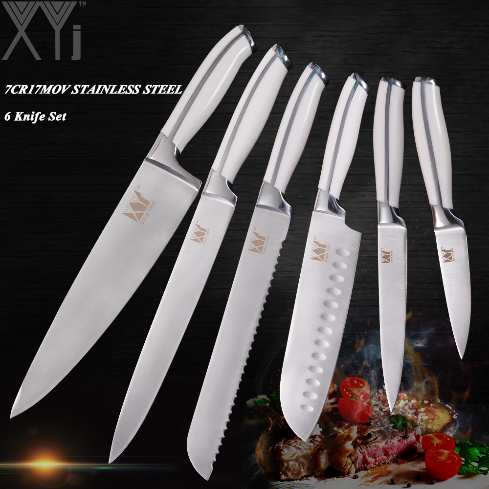 Xyj Professional Design Kitchen Knife Sets Stainless Steel Cooking Knives Paring Utility Santoku Bread Chef Slicing Knive Set