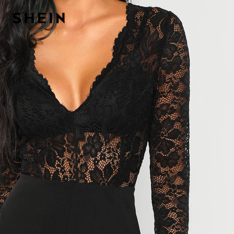 63ee64cad097 SHEIN Black Plunging Lace Bodice Jumpsuit Sexy Deep V Neck Wide Leg Skinny  Jumpsuits Women Plain Autumn Elegant Jumpsuit-in Jumpsuits from Women s  Clothing ...
