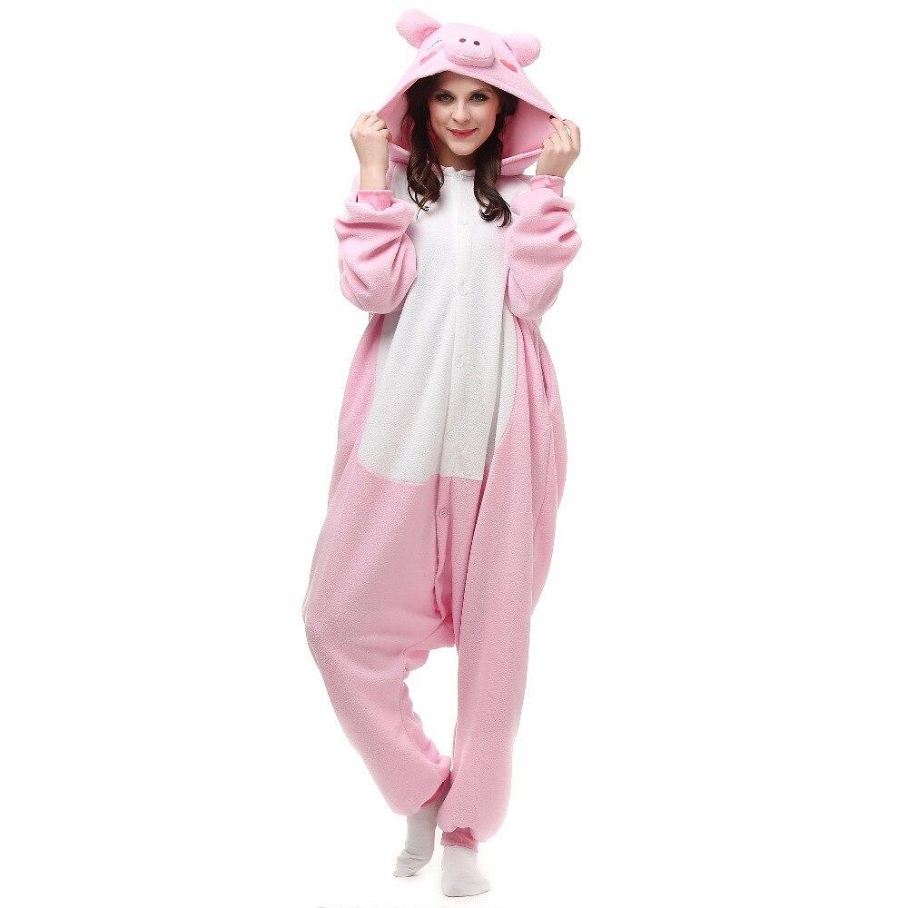 Christmas Halloween Birthday Gift Pink Pig Fleece Onesie Homewear Hoodie Pajamas Sleepwear Robe For Adults
