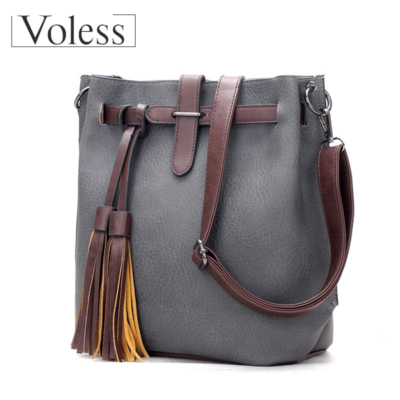 цена на VOLESS Women Bags High Quality PU Leather Crossbody Bag New Fashion Tassel Messenger Handbag Female Crossbody Bags sac a main