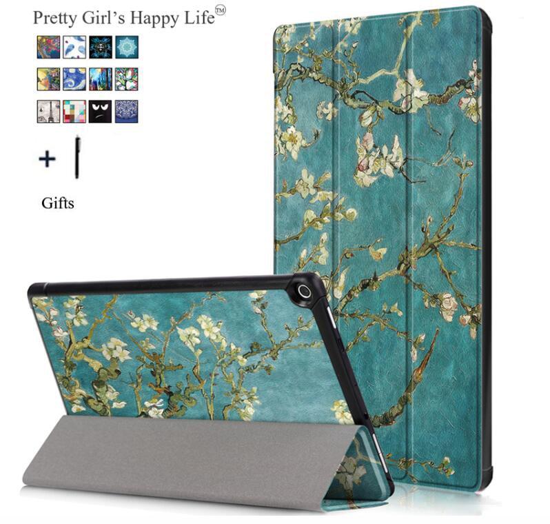 Capa Fundas Für Amazon Kindle Feuer HD 10 2017 Tablet Fall Für Amazon HD 10 2017 Smart Druck Flip Leder stehen Abdeckung + Stylus
