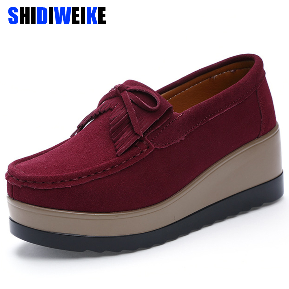 2019 Winter women platform shoes   leather     Suede   Slip On sneakers shoes Tassel fringe loafers moccasins women's shoes N428