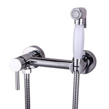 цены Free Shipping Solid Brass Chrome Handheld Bidet ,Toilet Portable Bidet Shower Set With Hot and Cold Water Bidet Mixer sprayer