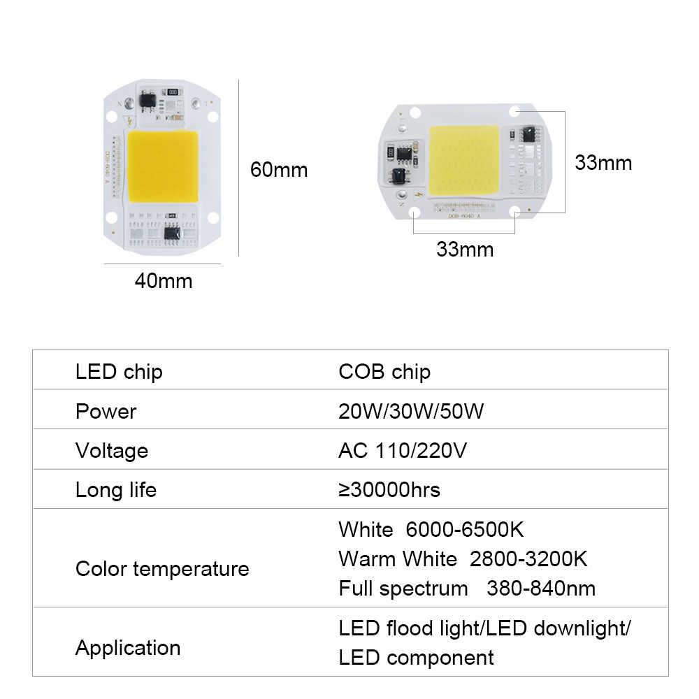 High Power LED COB Chip Diode Lamp 20W 30W 50W 220V 110V Power Supply DIY Full Spectrum LED Grow Light Spotlight Bulb Floodlight