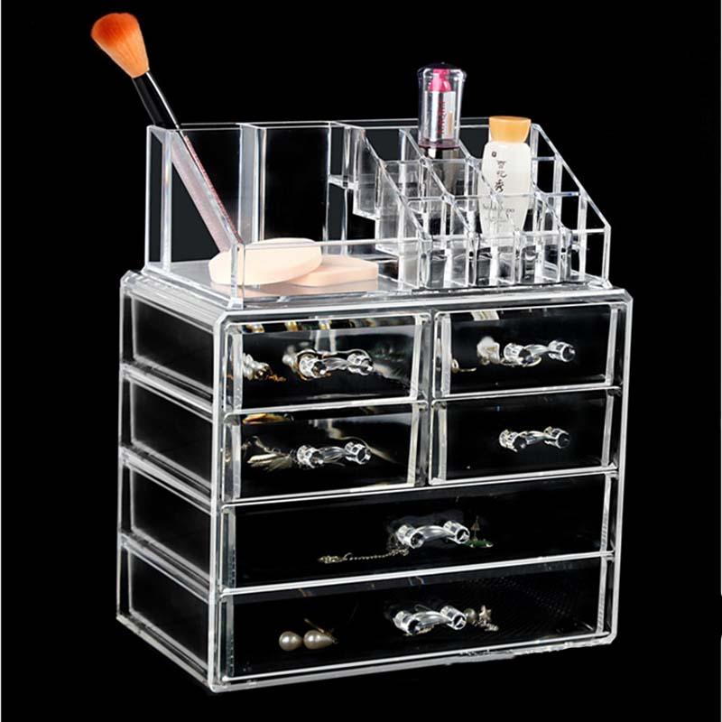Acrylic Transparent Makeup Organizer Storage Boxe Home Organizador Maquillaje Drawers Make Up Organizer Jewelry Storage Box
