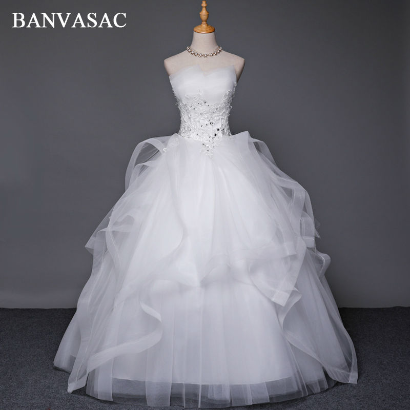 BANVASAC 2017 Nye krystaller Stropløs brudekjoler Elegant Ærmeløs Sequined Lace Broderi Satin Brude Ball Kjoler