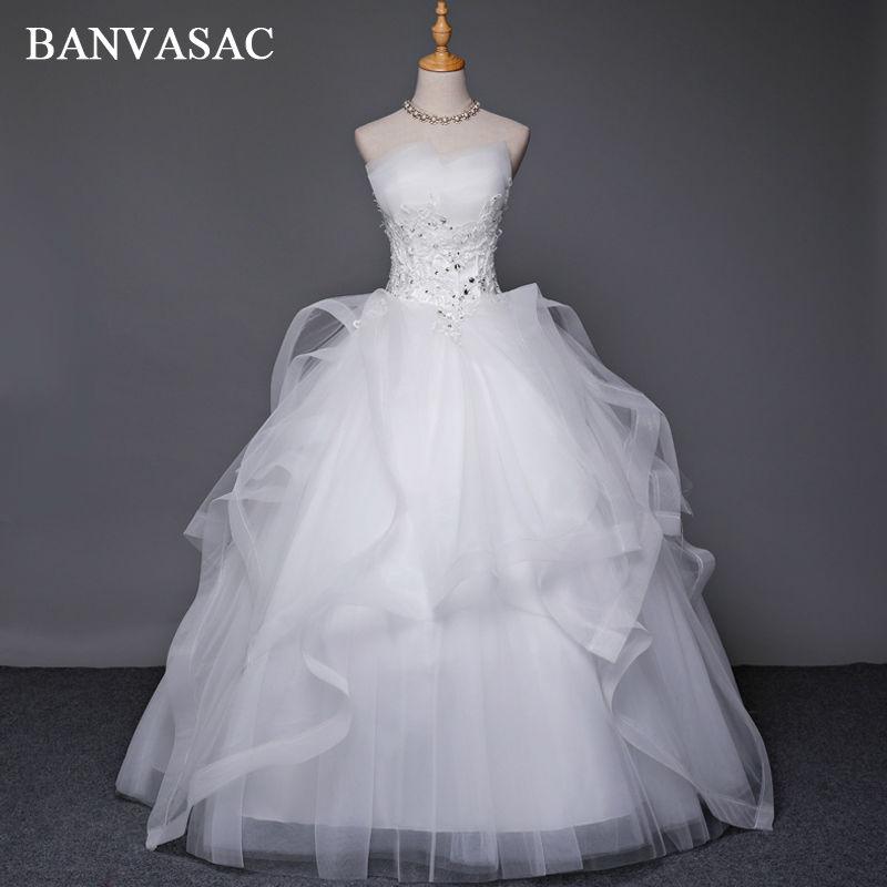BANVASAC 2017 Νέο Κρύσταλλο Φόρεμα για τα ρούχα χωρίς στράπλες Κομψή αμάνικο ριγέ δαντέλα Κεντήματα Νυφική φόρεμα με σατέν