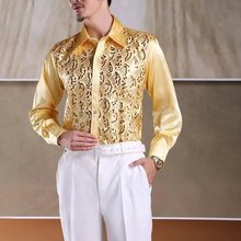 Shirt Wedding-Apparel Dress Long-Sleeve Silk Men's Size No:002 Top-Quality Can-Custom-Made