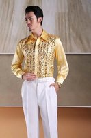 Top Quality Silk Long Sleeve Shirt Men's Dress Shirts Wedding Apparel(can custom made size) NO:002