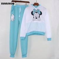XUANSHOW-Women-Set-Casual-Sportswear-Cute-Ear-Cartoon-Mouse-Printed-With-Hooded-long-sleeved-Tracksuit-2