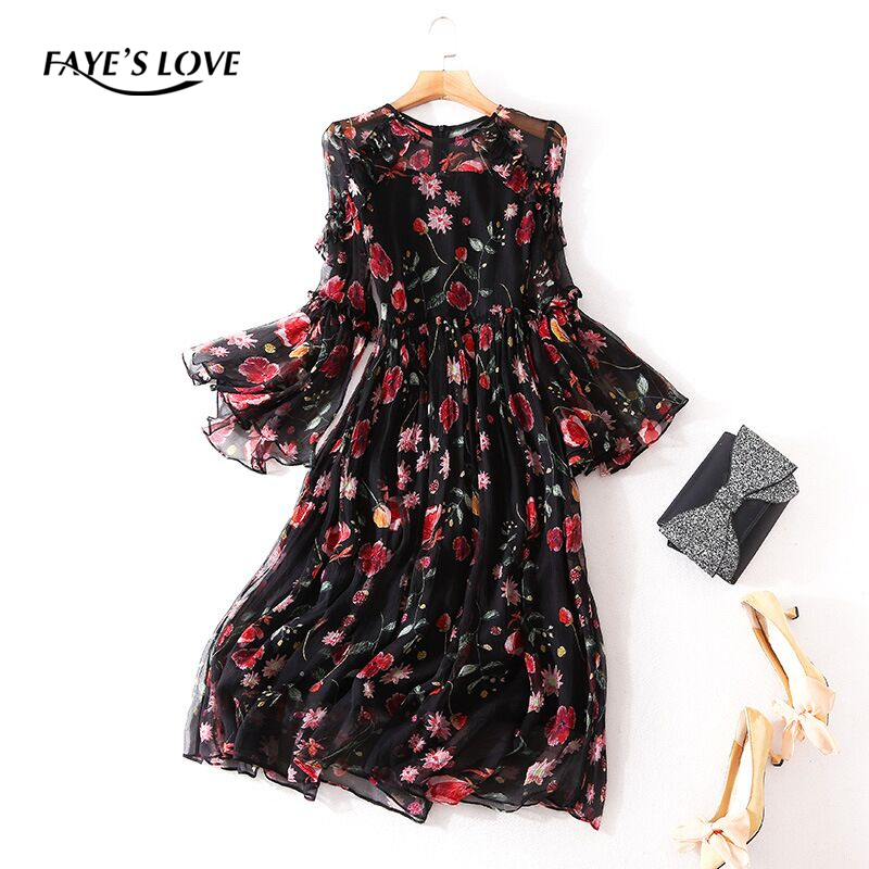 FAYE'S LOVE new spring/summer 100% real silk dress,high quality o neck ,full sleeve real silk dress,Q5Q081136