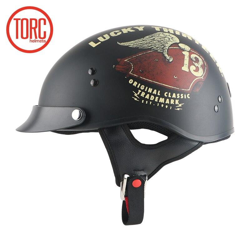 New arrival TORC motorcycle half helmet Retro scooter helmet vintage open face helmet Cool skull helmet Lucky 13 moto casco