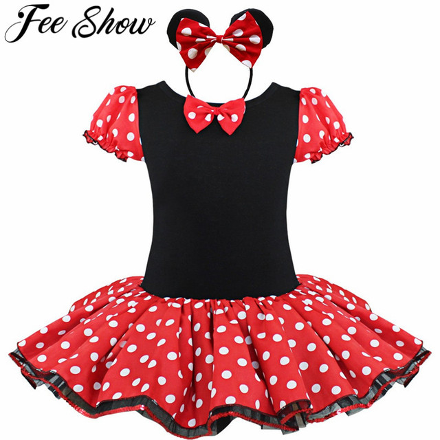 3bb5a282e571 Cute Bow Toddler Girls Halloween Costume Short Sleeves Polka Dots ...