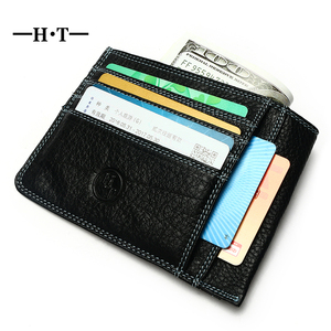 HT Luxury Real Genuine Cow Leather Men Slim Minimalist Wallet Mini ID Credit Card Holder Man Small Case Bag Money Purse Pocket