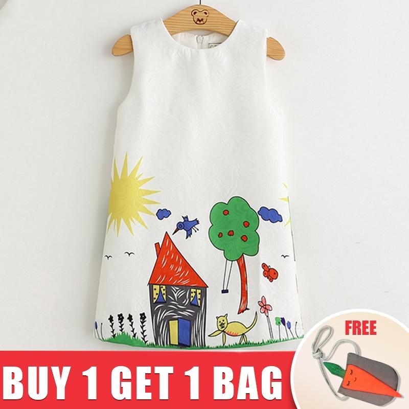 2018 Brand New Girl Princess Dress Girls Dresses Kids Clothes Graffiti Print Design Kids Dresses for 3-8Y Get Girl Bag free