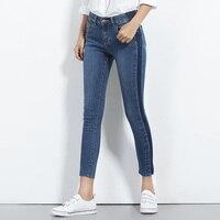 NEW Jeans for women denim Mid Waist side shawdow Woman Low Elastic plus size L 6XL Jeans femme wash casual skinny pencil pants
