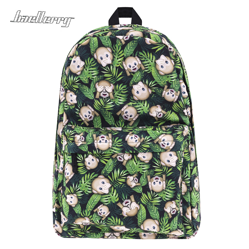 School Bags For Teenage Girls Backpack Women Funny Monkeys Weed Print New Mochila Bookbag Sac A Dos Canvas Backpacks