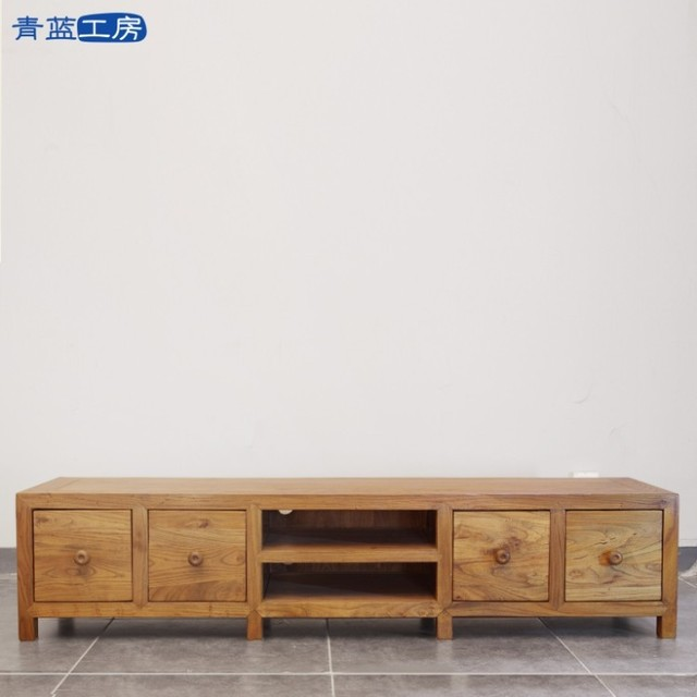 Blue Kobo old elm wood TV cabinet wood combinations minimalist furniture  Chinese cabinet Aigui small apartment
