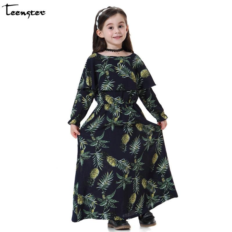 Girls Dress Long Sleeve Chiffon Robe Fille Kids Dresses for Girls Flower Printing Princess Dresses Elegant Kids Clothes Teenager