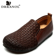 DRKANOL 2019 Spring Handmade Retro Women Flats Shoes Round Toe Genuine Leather Slip On Loafers Women Casual Flat Shoes Footwear 2017 woman black gray genuine leather flats shoes casual retro round toe handmade slip on solid round toe chinese embroidered