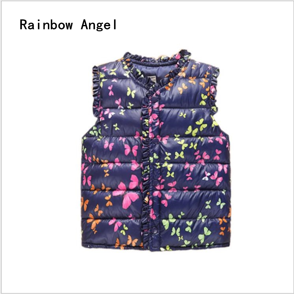 Butterfly Vest  Girls Winter Jackets Children Sleeveless Vest Jacket Autumn Winter Cotton Waistcoat For Boys