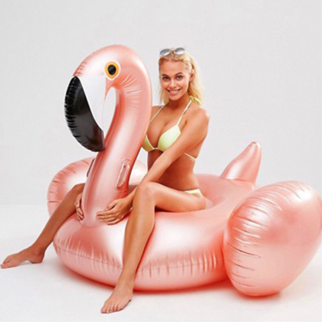 Rose Gold 150cm Giant Inflatable Flamingo Pool Float Newest Pink Ride-On Swimming Ring For Adults Summer Water Holiday Party Toy