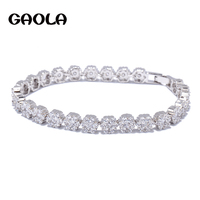 Korea Style Hot Trendy New Woman White Gold Plated Flower Shape AAA Crystal Bracelets Charm Accessories