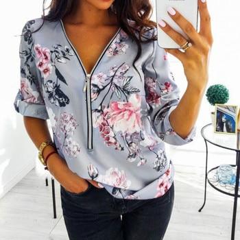 Women Tops Blouses 2019 Autumn Elegant Long Sleeve Print V-Neck Blouse Female Work Zipper Shirts Plus Size Tops 5XL Mujer Blusa 3