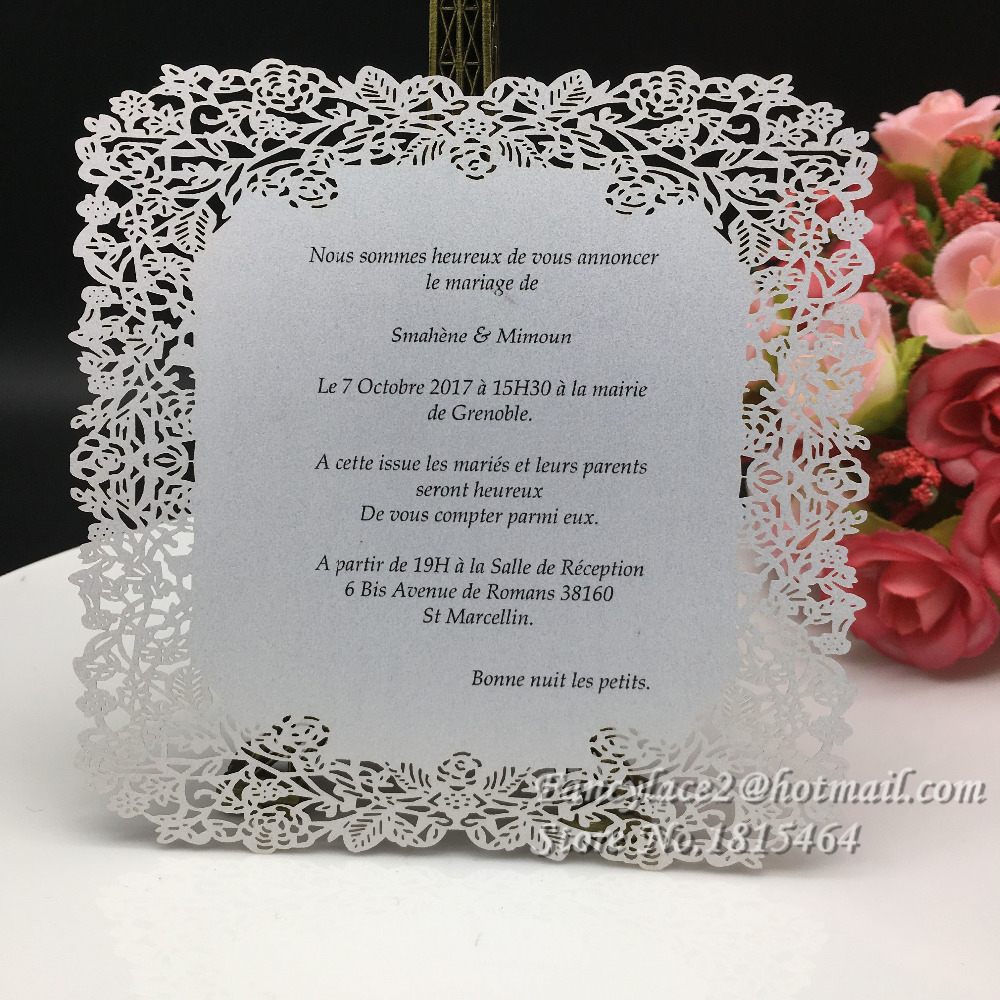 30pcs Hot Sale Handmade Menu Cards Laser Cut Flower Design