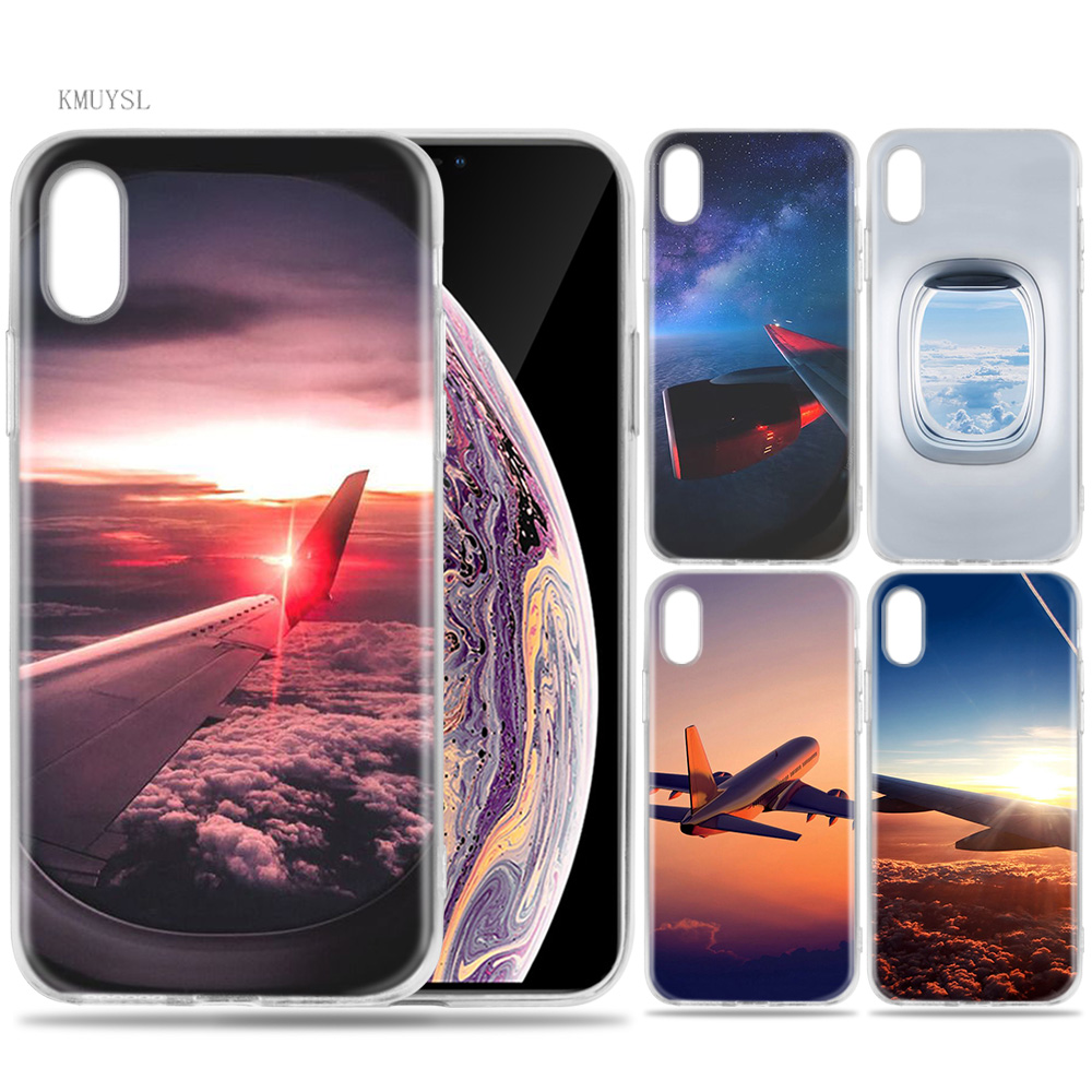 KMUYSL aircraft plane airplane aeroplane Silicon <font><b>Sillicone</b></font> Transparent Soft Coque <font><b>Case</b></font> Cover for <font><b>iPhone</b></font> <font><b>X</b></font> XS MAX XR image