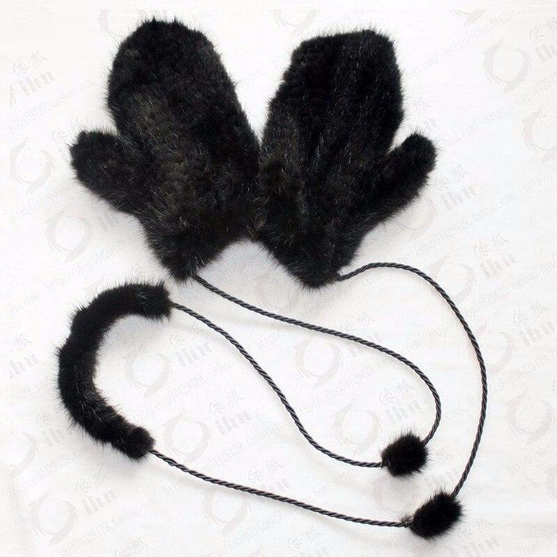 Image 3 - Brand fashion Winter women gloves genuine 100% real mink fur glove knitted mittens thick warm fur Gloves & Mittens-in Women's Gloves from Apparel Accessories on AliExpress