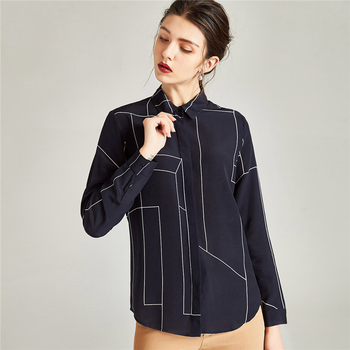 100% Silk Blouse Women Shirt Simple Design Turn-down Collar Long Sleeves Translucent Fabric Office Top New Fashion Spring 2018