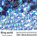Mix size Top Quality Heat Transfer Flatback Black Diamond AB DMC Hot Fix Rhinestones for Women bag DIY Wedding Dresses Decor