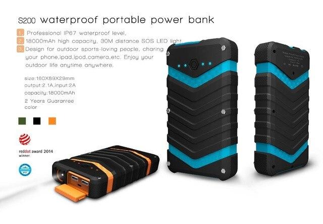 Открытый Сильный Ударопрочный Пыле Водонепроницаемый Power bank 18000 мАч выдерживает Падения с высоты портативное зарядное устройство для iphone samsung htc