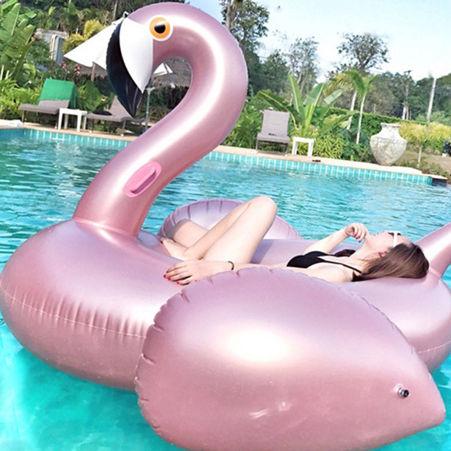 Nice 150cm Rose Gold Inflatable Flamingo Swimming Float Tube Raft Adult Giant pool Float Swimming Ring Summer Water Pool Toys