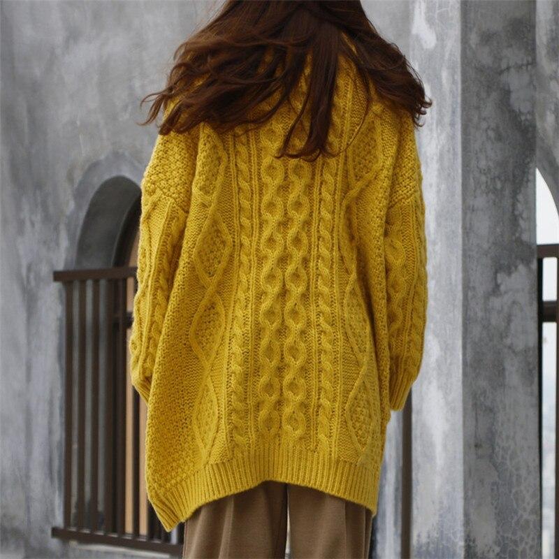 Et Cardigan Lâche Femmes Nouvelle Épais Cavaliers Chandail Long Tricot marron Hiver En Vintage Manteau Oversize jaune Automne coréen Manches Longues Twist Beige wqw7XYx
