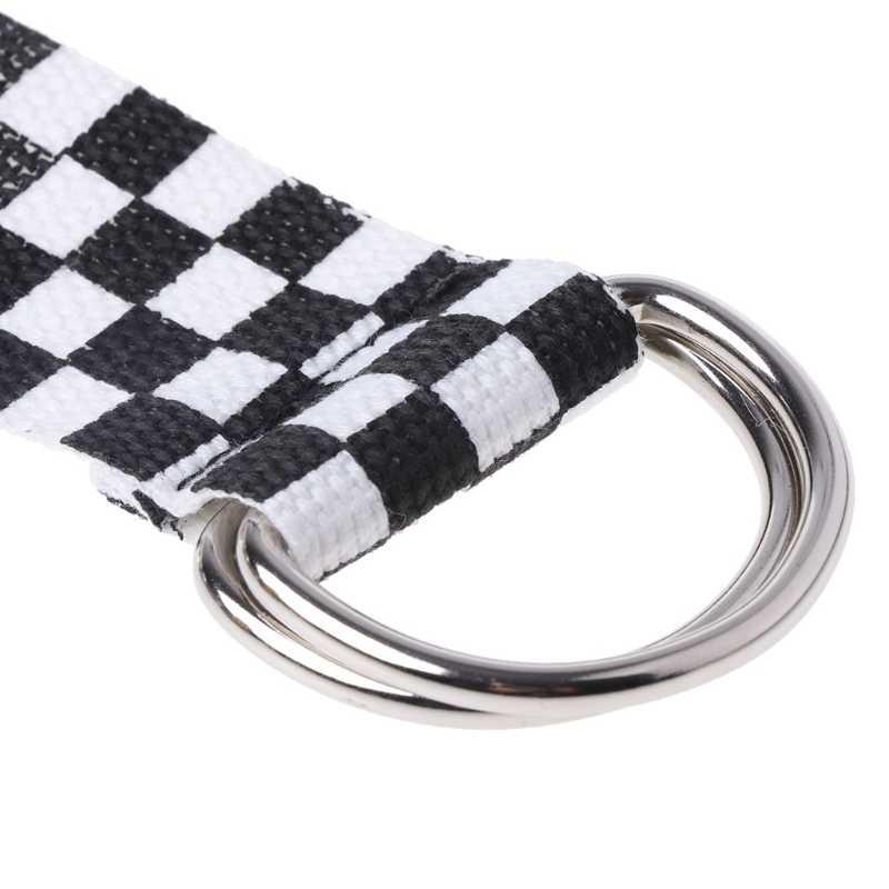 黒白のチェック柄ウエストベルトユニセックス女性ファッションウエストバンドバックルキャンバス