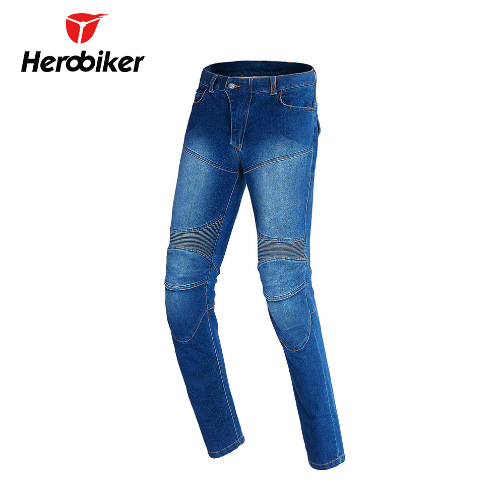 HEROBIKER Men Motorcycle Pants Moto Riding Jeans With 4 Protectors Knee Pads Motocross Racing Pants Winter Warm Windproof