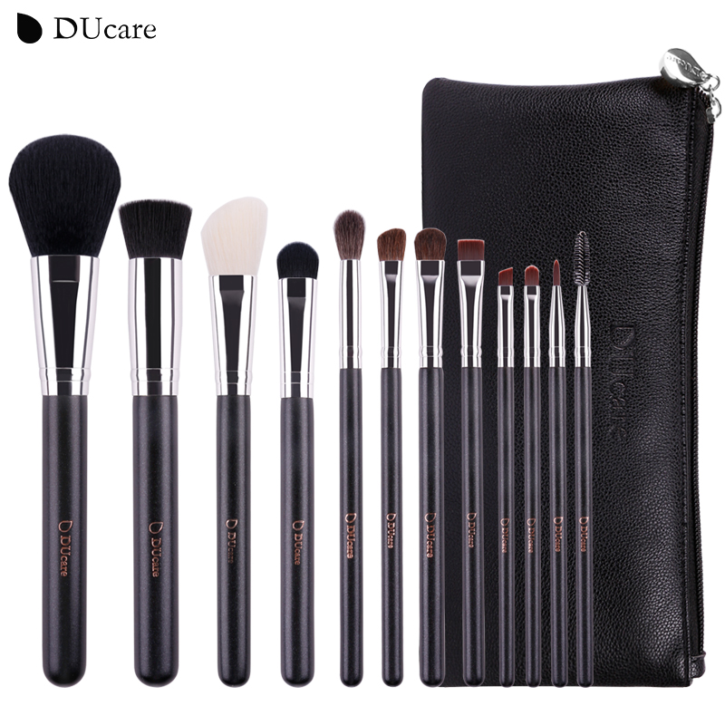 DUcare Makeup Brushes 12Pcs Natural Hair Cosmetics Set with Leather Bags Wooden handle high quality make up brush setDUcare Makeup Brushes 12Pcs Natural Hair Cosmetics Set with Leather Bags Wooden handle high quality make up brush set