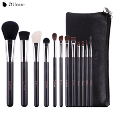 DUcare Makeup Brushes 12Pcs Natural Hair Cosmetics Set with Leather Bags Wooden handle high quality make up brush set