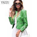 YNZZU 2017 Spring Fashion Slim Women Leather Jacket motorcycle jacket Green Zippers Faux Leather Femme jaqueta de couro YO012