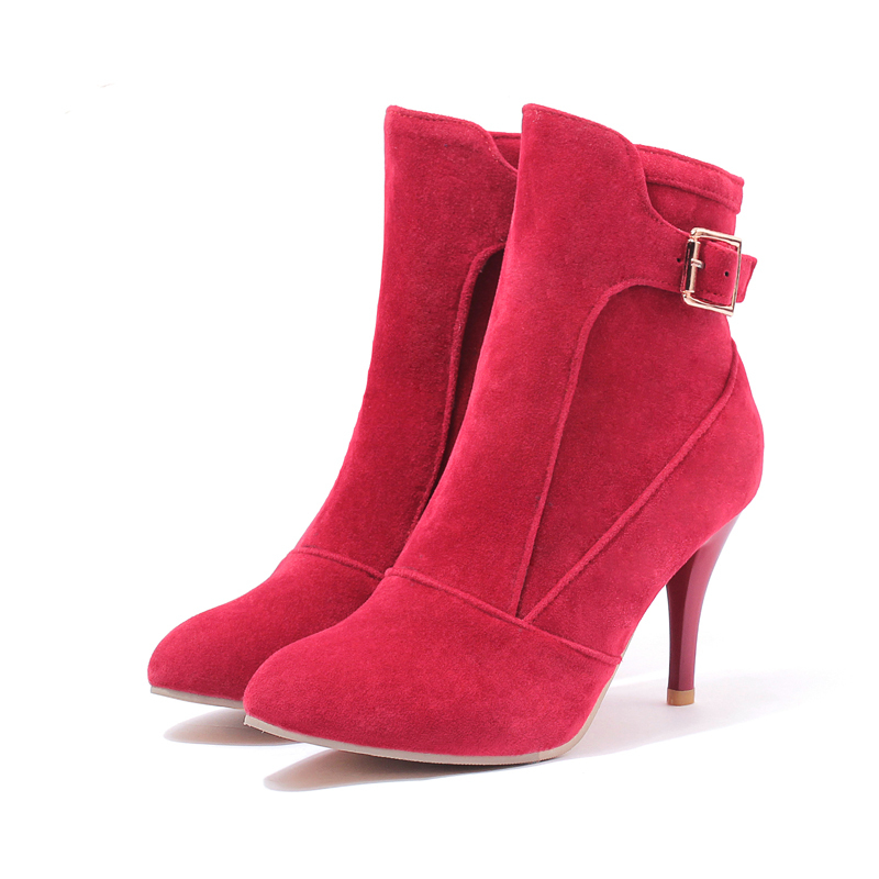 ARMORIE Brand New Elegant Black Apricot Pink Red Women Ankle Riding Boots Ladies Shoes High Heels AHDM-6 Plus Big Size 10 43 brand new hot sales women nude ankle boots red black buckle ladies riding spike shoes high heels emb08 plus big size 32 45 11