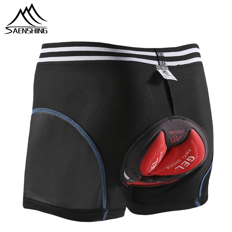 Saenshing calções de ciclismo bicicleta roupa interior 5d gel almofada men mountain bike shorts downhill mtb bermuda culotte ciclismo hombre
